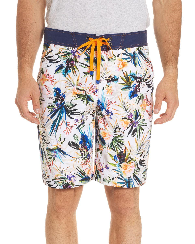 5ab2a95c38 Robert Graham Rumba Floral-Print Swim Trunks | Neiman Marcus