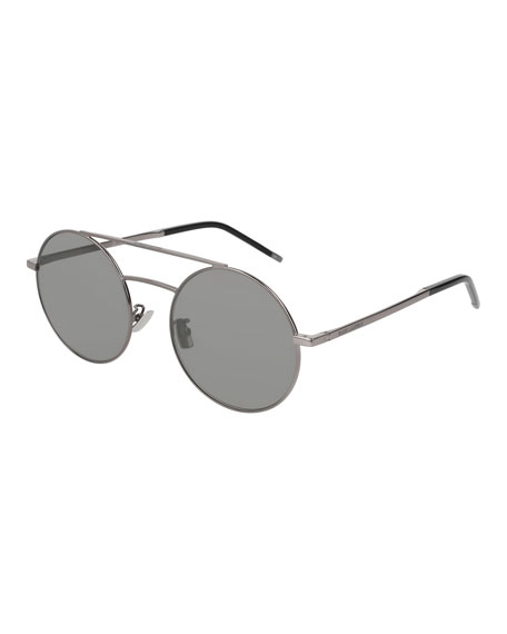Saint Laurent Round Unisex Metal Aviator Sunglasses