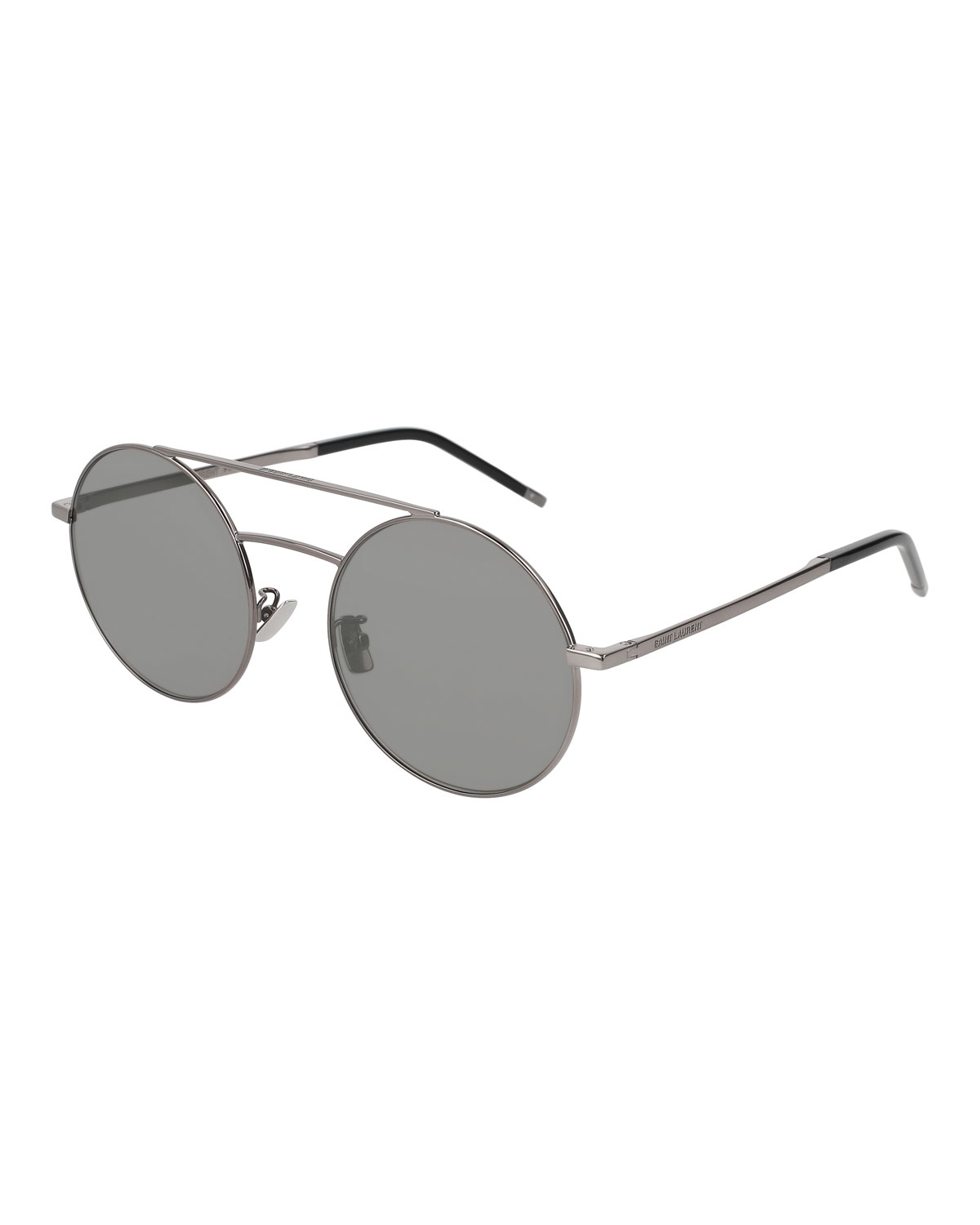 080a32ae42152 Saint Laurent Round Unisex Metal Aviator Sunglasses