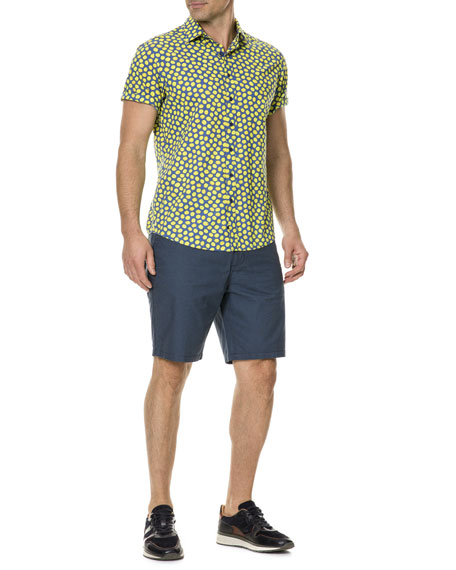 Men's Davis Bay Lemon-Graphic Short-Sleeve Sport Shirt