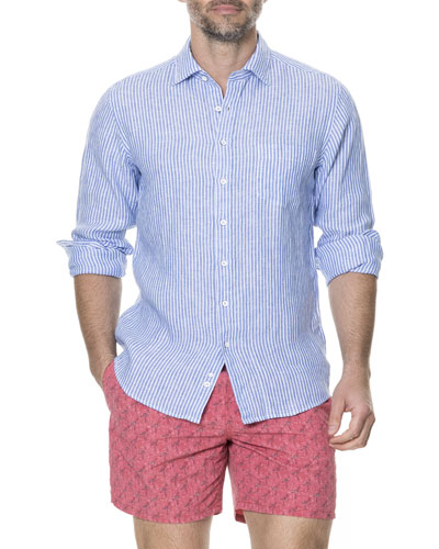 Men's Derby Striped Linen Sport Shirt