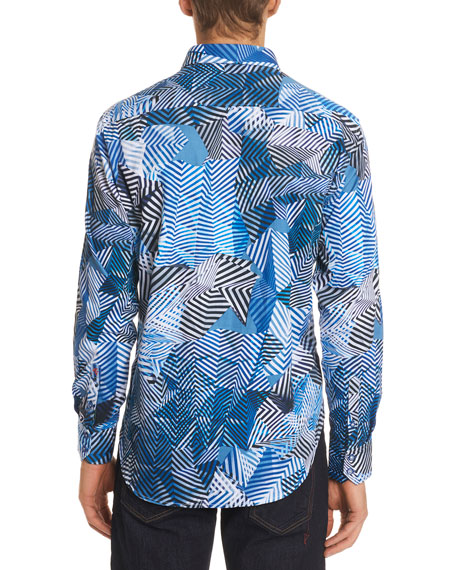 Santos Fractured-Print Sport Shirt