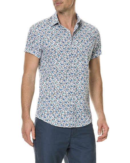 Men's Glenbrook Beach Palm Tree Short-Sleeve Sport Shirt