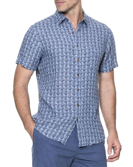 Saddle Hill Pineapple-Print Short-Sleeve Sport Shirt