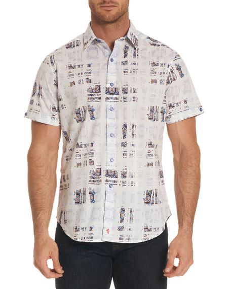 Robert Graham Vega Mosaic Tiled Short-Sleeve Sport Shirt