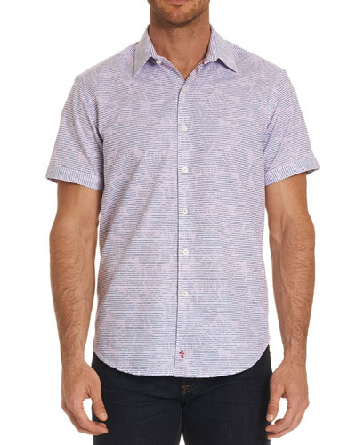 El Carmelo Floral-Striped Short-Sleeve Sport Shirt