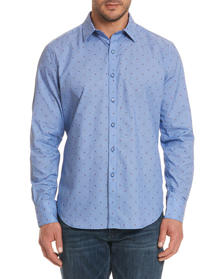 Platt Square-Dot Sport Shirt