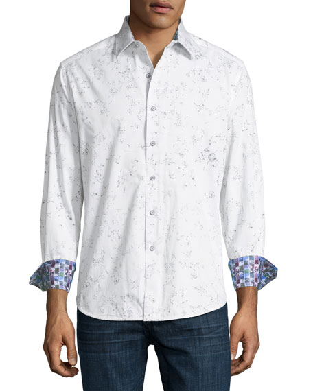De La Cruz Floral-Print Cotton Sport Shirt