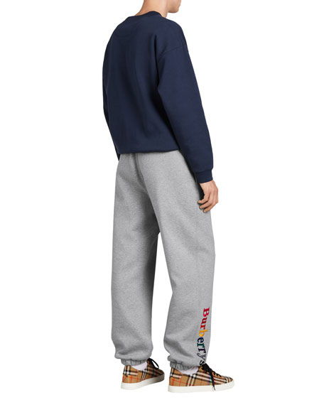 Rainbow Embroidered-Logo Cotton Sweatpants