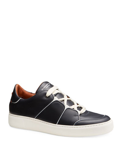 Tiziano Men's Leather Low-Top Sneaker, Navy
