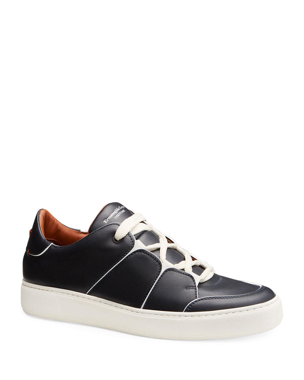 Ermenegildo Zegna Tiziano Men's Leather Navy Low-Top Sneakers, Navy Leather 229eaa