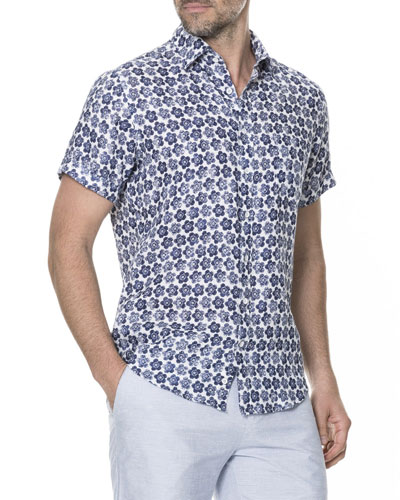 Men's Keyburn Floral-Print Linen Short-Sleeve Sport Shirt