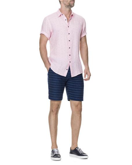 Men's Landmark Dotted Linen-Blend Sport Shirt