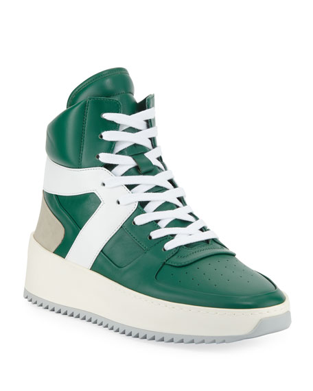 Men's Leather High-Top Basketball Sneakers