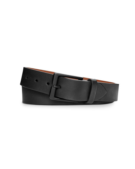 Shinola Lightning Bolt Keeper Leather Belt, Black