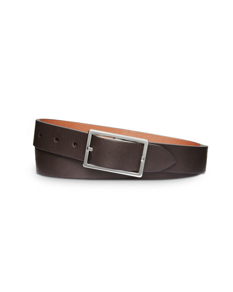 Reversible Rectangular-Buckle Leather Belt