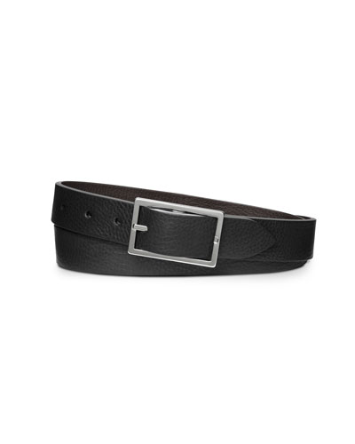 Men's Reversible Rectangular-Buckle Leather Belt