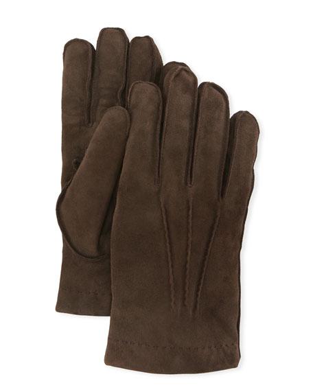 Guanti Giglio Fiorentino Cashmere-Lined Suede Gloves