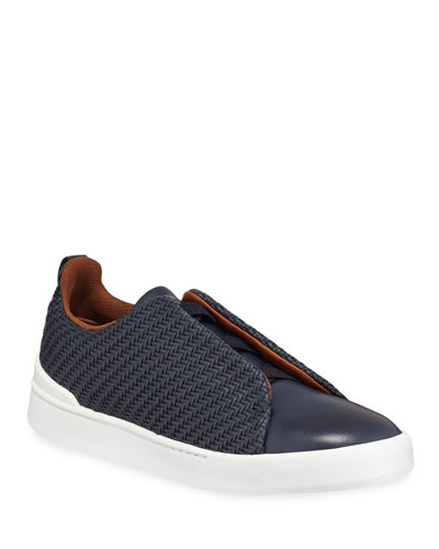 Men's Couture Triple-Stitch Pelle Tessuta Leather Low-Top Sneaker, Navy
