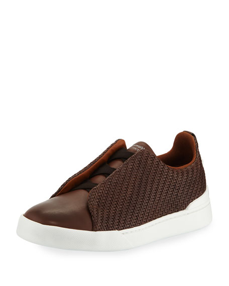Men's Couture Triple-Stitch Pelle Tessuta Leather Low-Top Sneakers, Brown