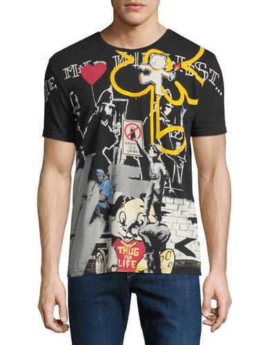 Men's Stencil Graffiti T-Shirt