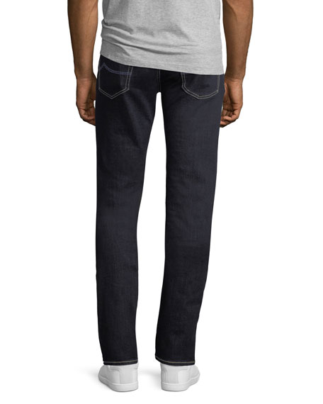 Straight-Leg Stretch-Denim Jeans with Contrast Stitching