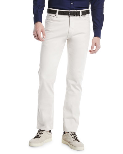 Cotton Canvas Chino Pants, White