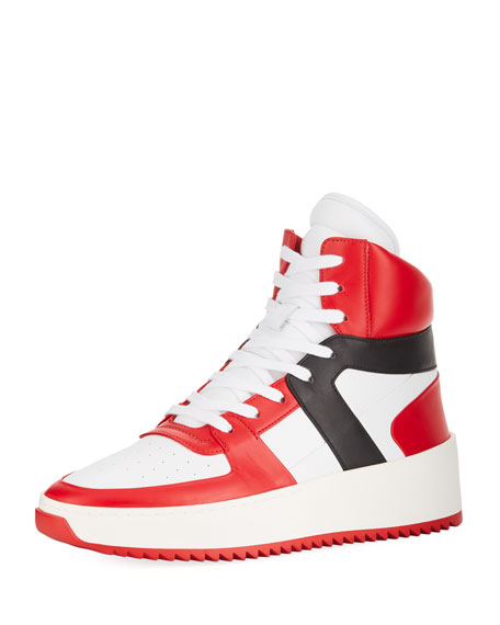 Men's Tricolor Leather High-Top Basketball Sneakers