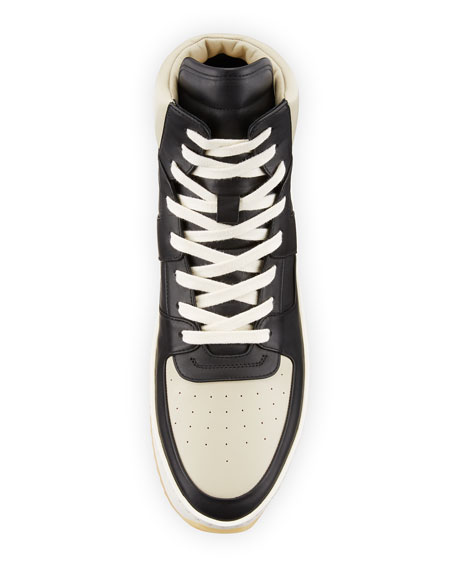 Men's Two-Tone Leather High-Top Basketball Sneakers