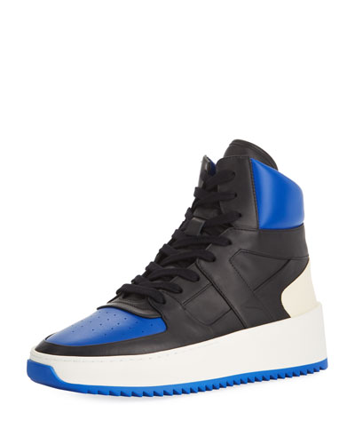 Men's Two-Tone Leather High-Top  Basketball Sneakers, Black/Blue