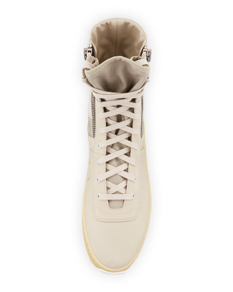 Men's Leather High-Top Military Sneakers, Beige
