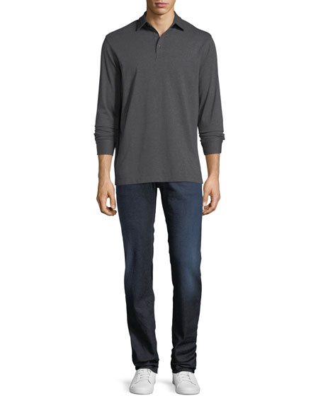 Lightweight Dark-Wash Straight-Leg Jeans