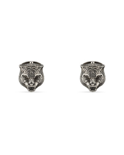 Sterling Silver Feline Head Cuff Links
