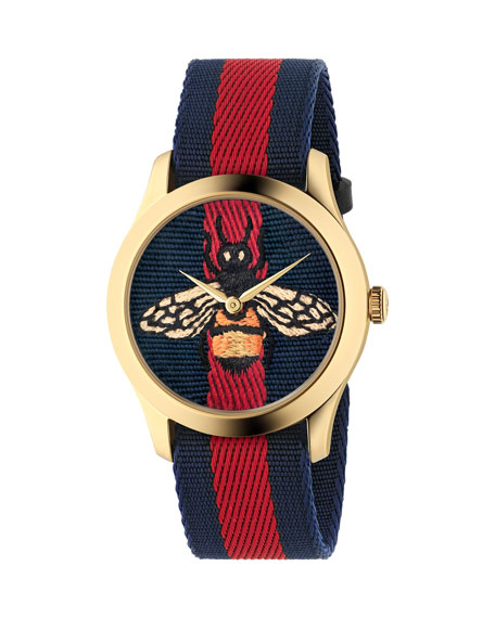 Gucci Bee-Embroidered Nylon Web Watch, Blue/Red