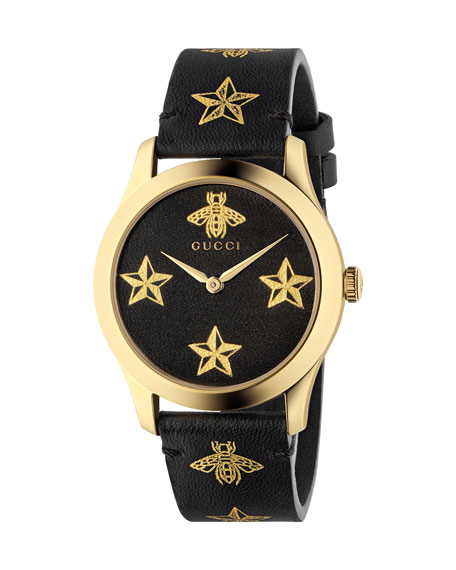 Gucci Bee-and-Star Leather Watch