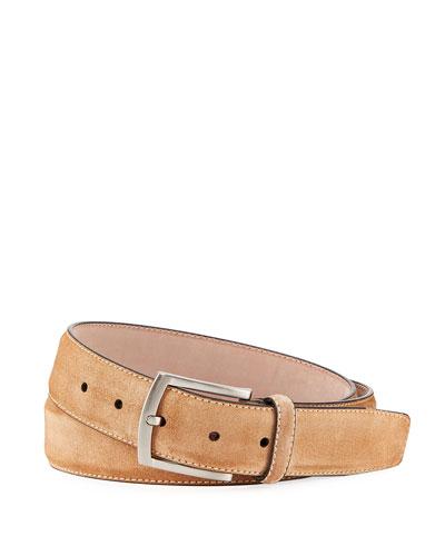 Men's Suede Square-Buckle Belt