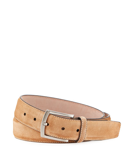Men's Suede Square-Buckle Belt