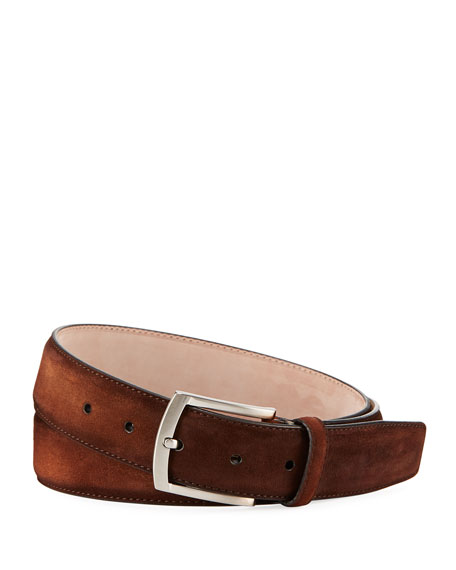 Men's Suede Belt, Brown