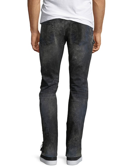 Distressed Stretch-Denim Moto Jeans