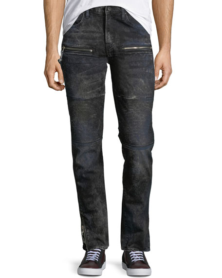 PRPS Distressed Stretch-Denim Moto Jeans