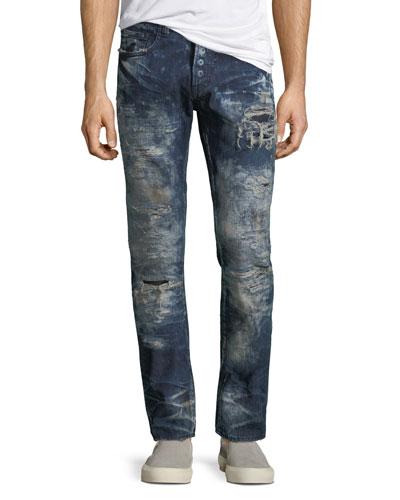 Rip Repaired & Bleached Slim-Leg Jeans