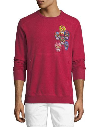 Skull-Appliqué Fleece Sweatshirt