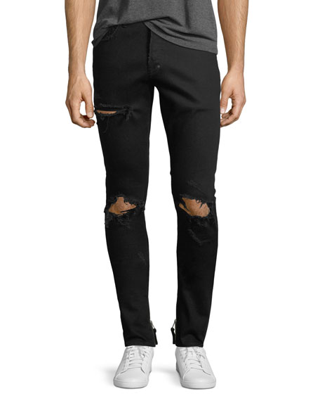 Distressed Stretch-Denim Jeans