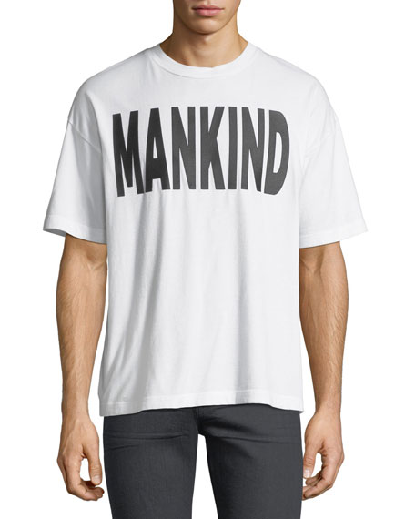 7 For All Mankind Men's Typographic Oversized T-Shirt
