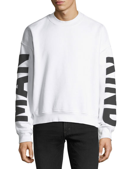 7 for all mankind Men's Puff-Print Crewneck Sweatshirt