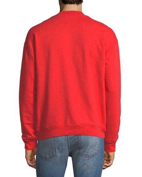 Men's Typographic Embroidered Sweatshirt, Red
