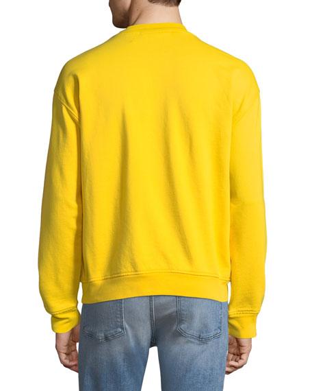 Men's Typographic Embroidered Sweatshirt, Yellow