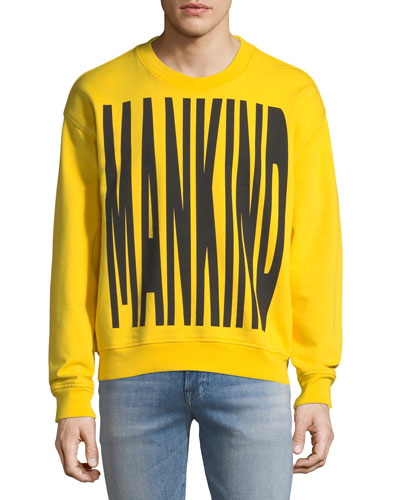 Typographic Embroidered Sweatshirt, Yellow