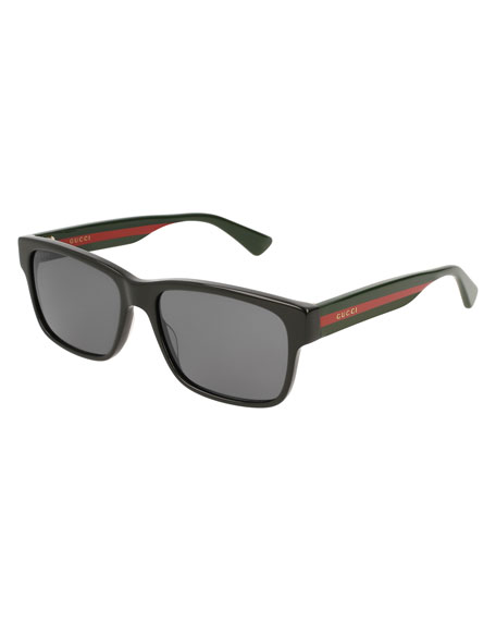 Gucci Square Acetate Sunglasses with Signature Web