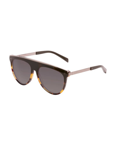 Flat-Top Aviator Sunglasses, Brown